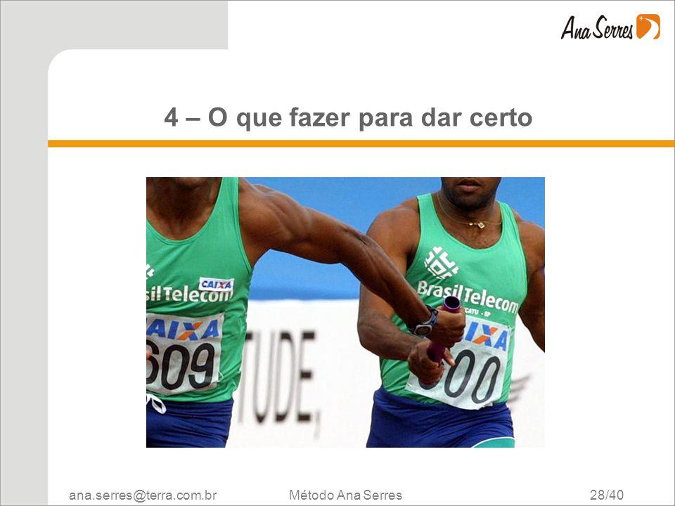 ana.serres@terra.com.br Método Ana Serres 28/40 4 – O que fazer para dar certo