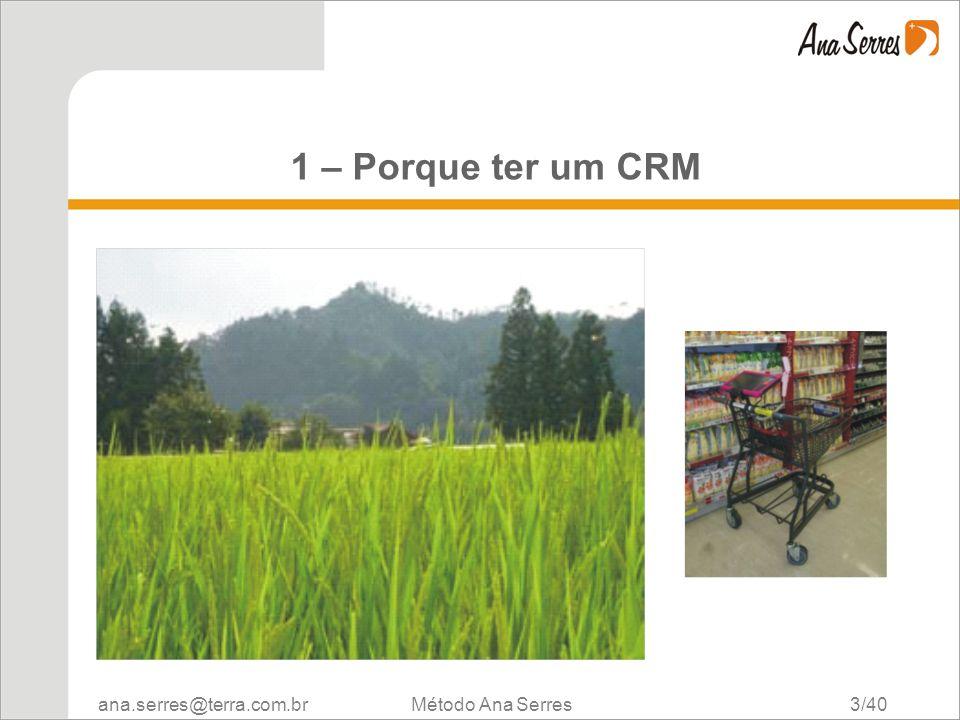 ana.serres@terra.com.br Método Ana Serres 3/40 1 – Porque ter um CRM
