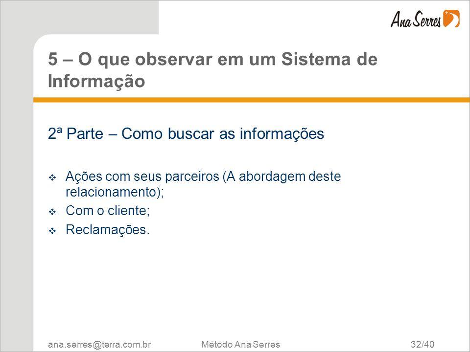 ana.serres@terra.com.br Método Ana Serres 32/40 5 – O que observar em um Sistema de Informação 2ª Parte – Como buscar as informações Ações com seus pa