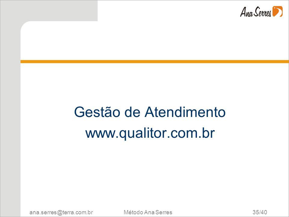 ana.serres@terra.com.br Método Ana Serres 35/40 Gestão de Atendimento www.qualitor.com.br