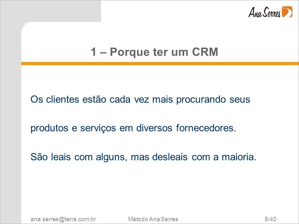 ana.serres@terra.com.br Método Ana Serres 8/40 1 – Porque ter um CRM Os clientes estão cada vez mais procurando seus produtos e serviços em diversos f