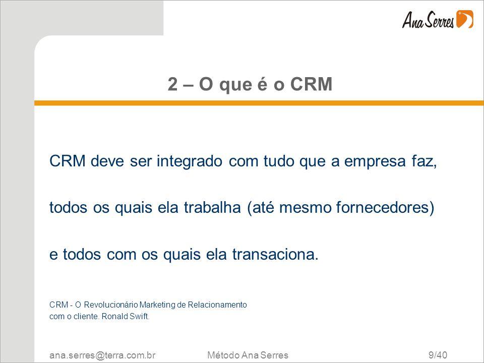 ana.serres@terra.com.br Método Ana Serres 9/40 2 – O que é o CRM CRM deve ser integrado com tudo que a empresa faz, todos os quais ela trabalha (até m