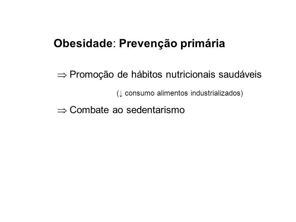 Obesidade: Prevenção primária Promoção de hábitos nutricionais saudáveis ( consumo alimentos industrializados) Combate ao sedentarismo