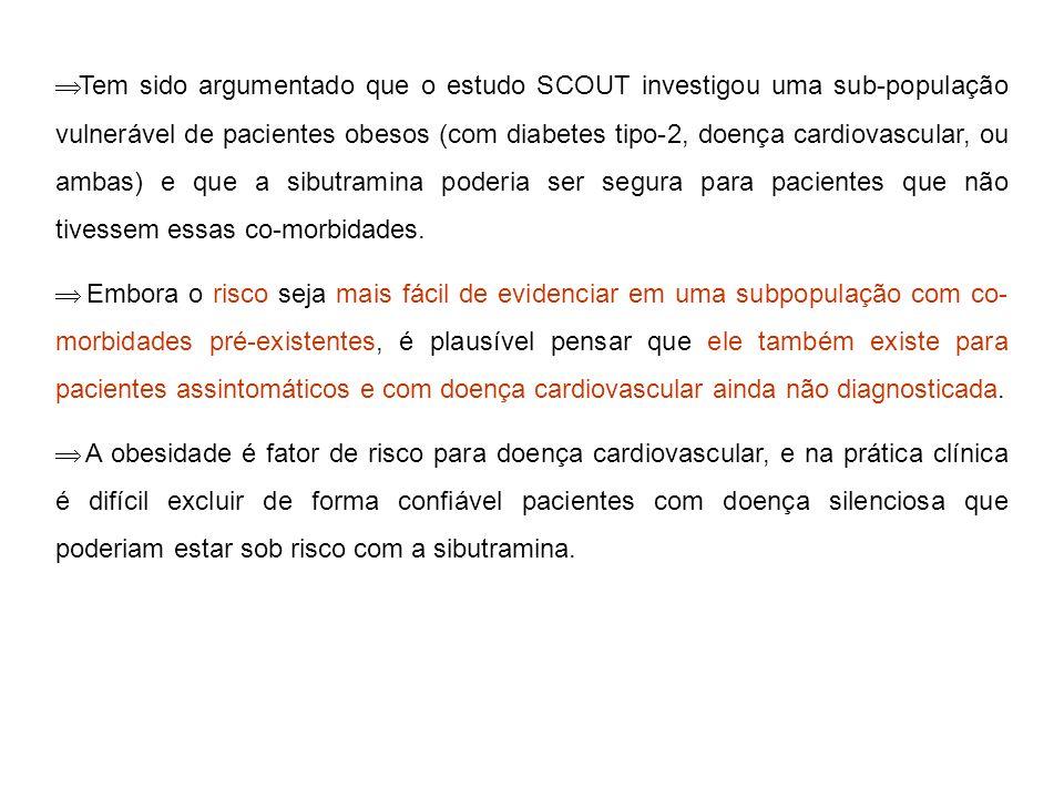 Tem sido argumentado que o estudo SCOUT investigou uma sub-população vulnerável de pacientes obesos (com diabetes tipo-2, doença cardiovascular, ou am
