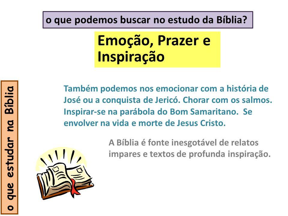 Emoção, Prazer e Inspiração o que estudar na Bíblia Também podemos nos emocionar com a história de José ou a conquista de Jericó. Chorar com os salmos