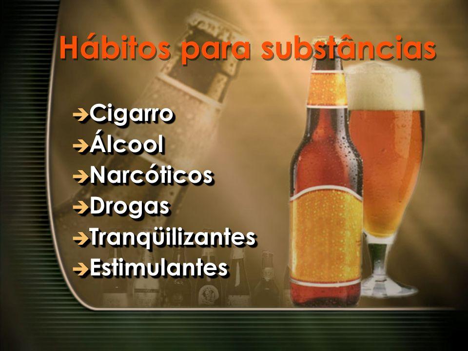 Hábitos para substâncias Cigarro Cigarro Álcool Álcool Narcóticos Narcóticos Drogas Drogas Tranqüilizantes Tranqüilizantes Estimulantes Estimulantes C