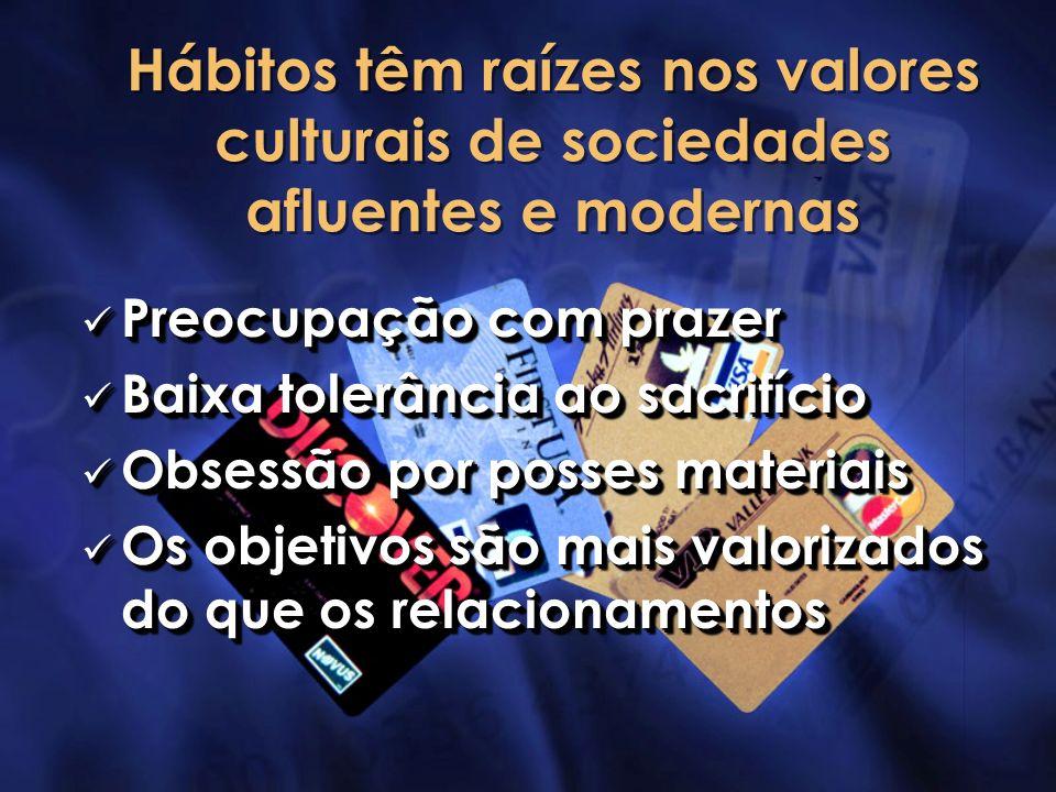 Hábitos têm raízes nos valores culturais de sociedades afluentes e modernas Preocupação com prazer Preocupação com prazer Baixa tolerância ao sacrifíc