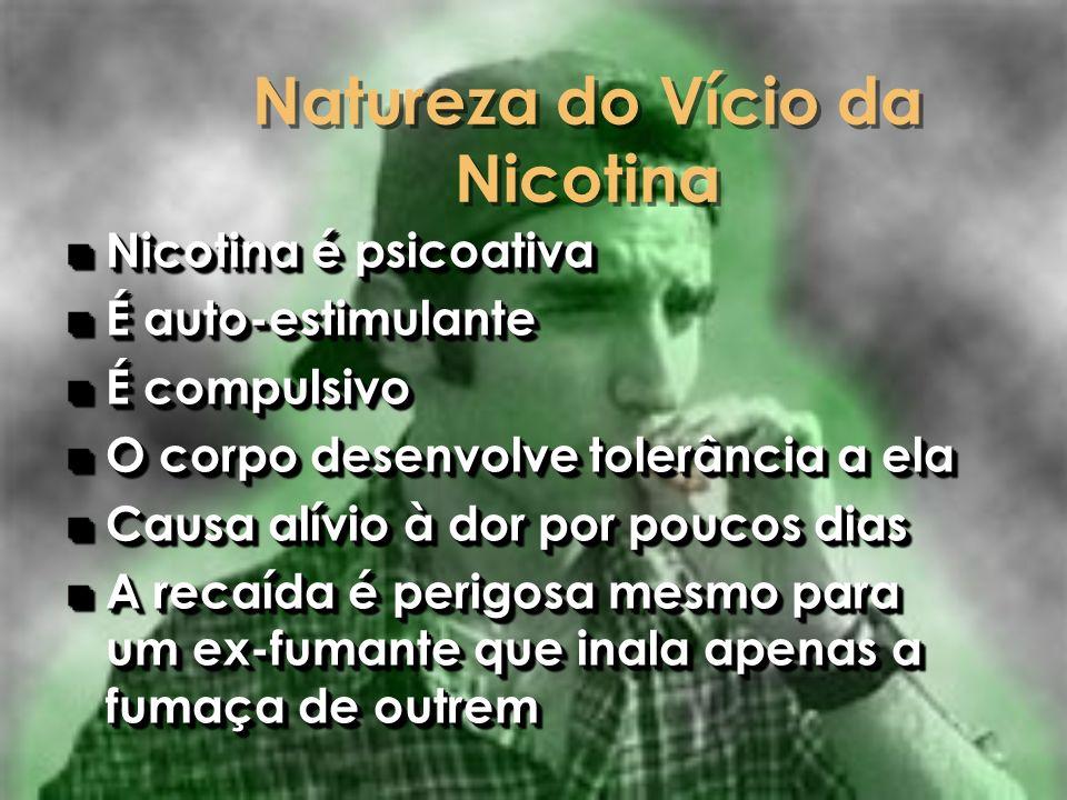 Natureza do Vício da Nicotina n Nicotina é psicoativa n É auto-estimulante n É compulsivo n O corpo desenvolve tolerância a ela n Causa alívio à dor p