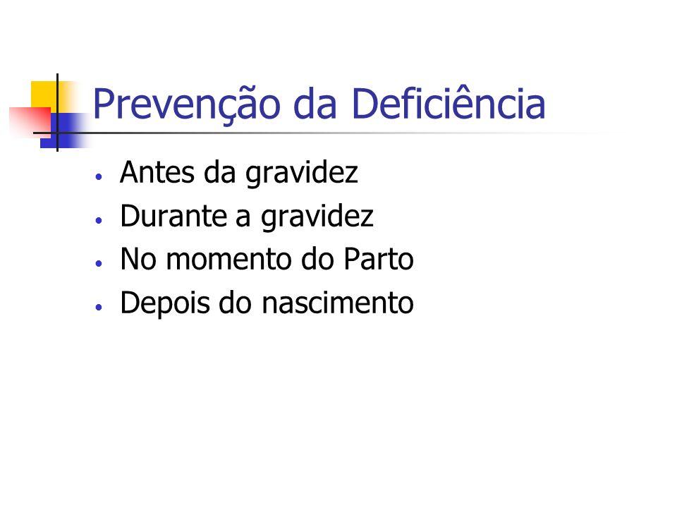 Prevenção da Deficiência Antes da gravidez Durante a gravidez No momento do Parto Depois do nascimento