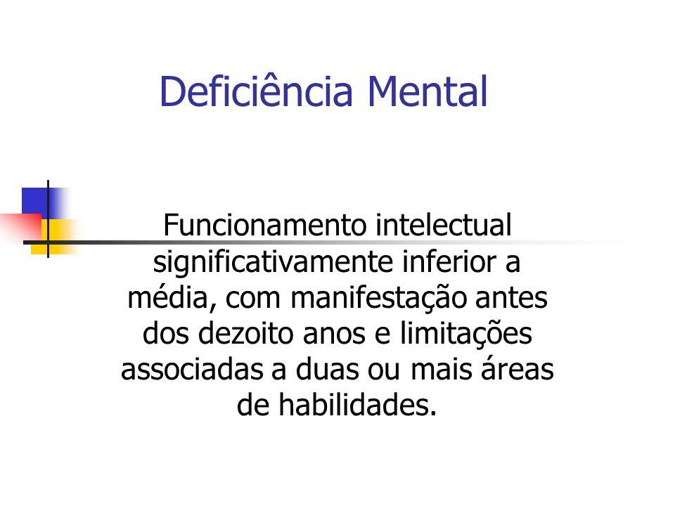 Deficiência Mental Funcionamento intelectual significativamente inferior a média, com manifestação antes dos dezoito anos e limitações associadas a duas ou mais áreas de habilidades.