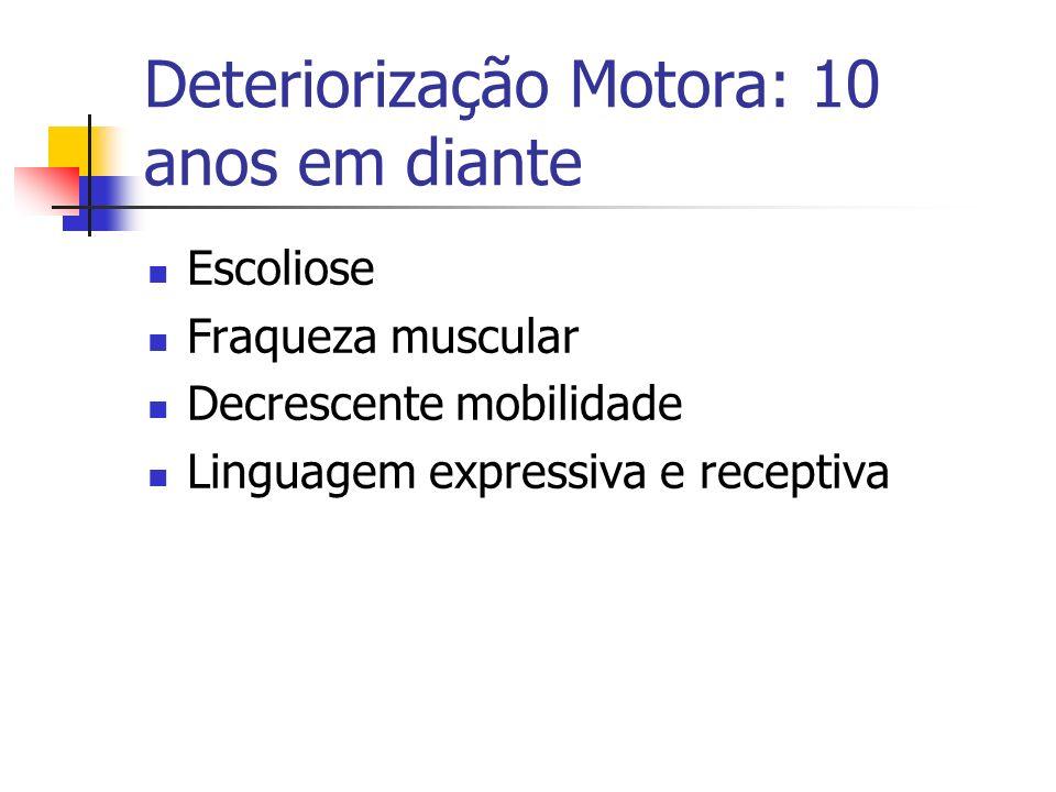 Deteriorização Motora: 10 anos em diante Escoliose Fraqueza muscular Decrescente mobilidade Linguagem expressiva e receptiva