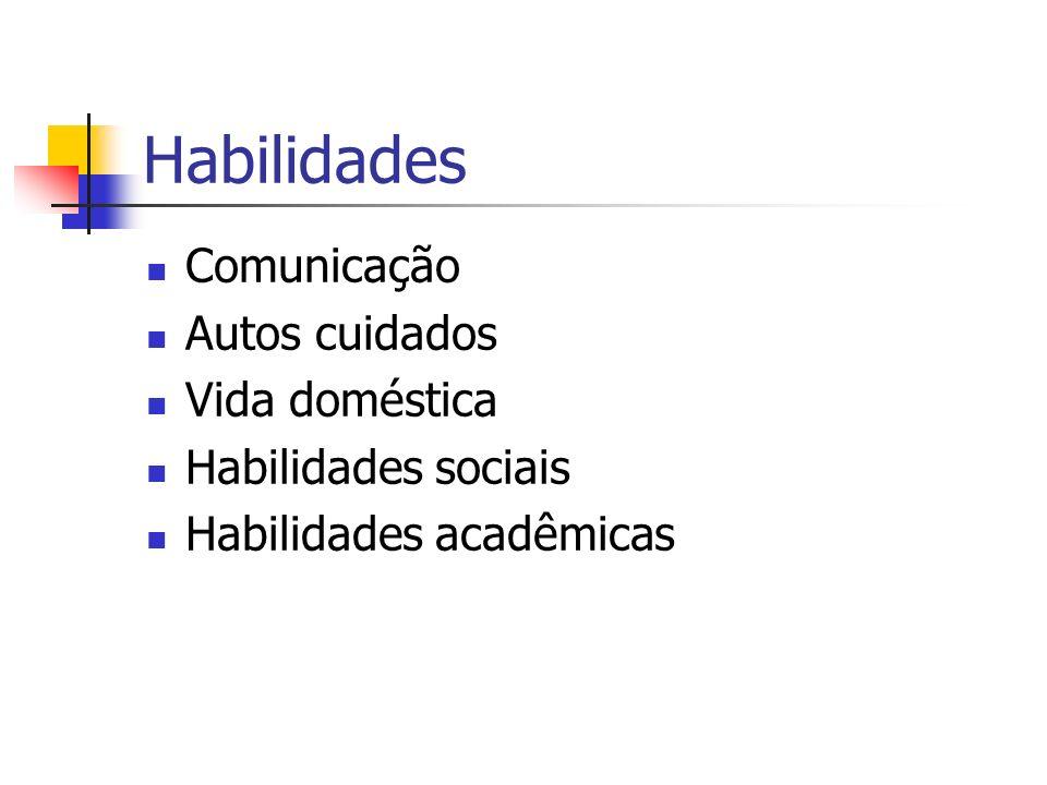 Habilidades Comunicação Autos cuidados Vida doméstica Habilidades sociais Habilidades acadêmicas
