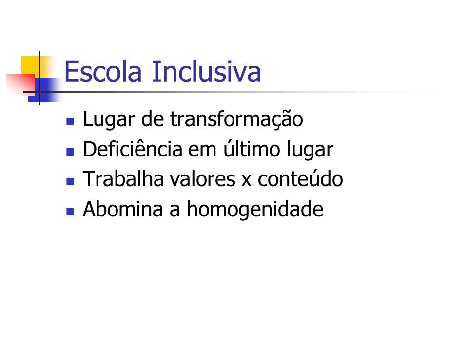 Escola Inclusiva Lugar de transformação Deficiência em último lugar Trabalha valores x conteúdo Abomina a homogenidade