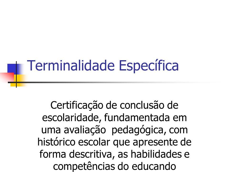 Terminalidade Específica Certificação de conclusão de escolaridade, fundamentada em uma avaliação pedagógica, com histórico escolar que apresente de forma descritiva, as habilidades e competências do educando