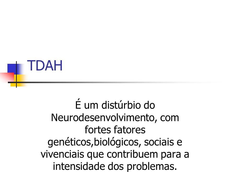 TDAH É um distúrbio do Neurodesenvolvimento, com fortes fatores genéticos,biológicos, sociais e vivenciais que contribuem para a intensidade dos problemas.