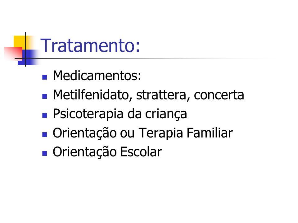 Tratamento: Medicamentos: Metilfenidato, strattera, concerta Psicoterapia da criança Orientação ou Terapia Familiar Orientação Escolar