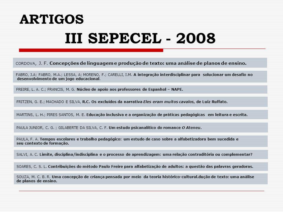 ARTIGOS III SEPECEL - 2008 CORDOVA, J.F.