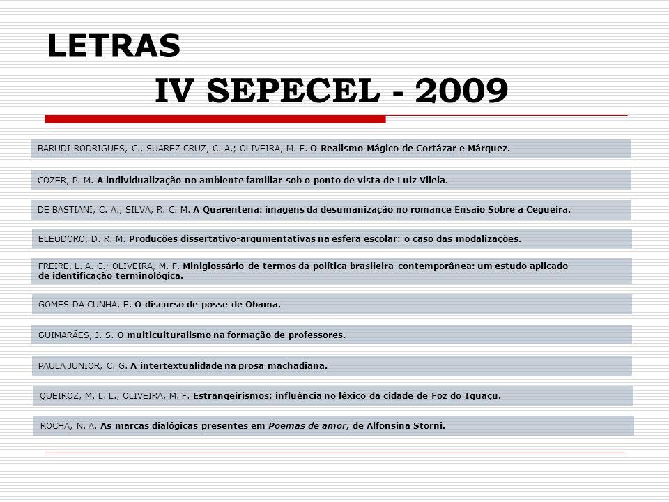 LETRAS IV SEPECEL - 2009 BARUDI RODRIGUES, C., SUAREZ CRUZ, C.
