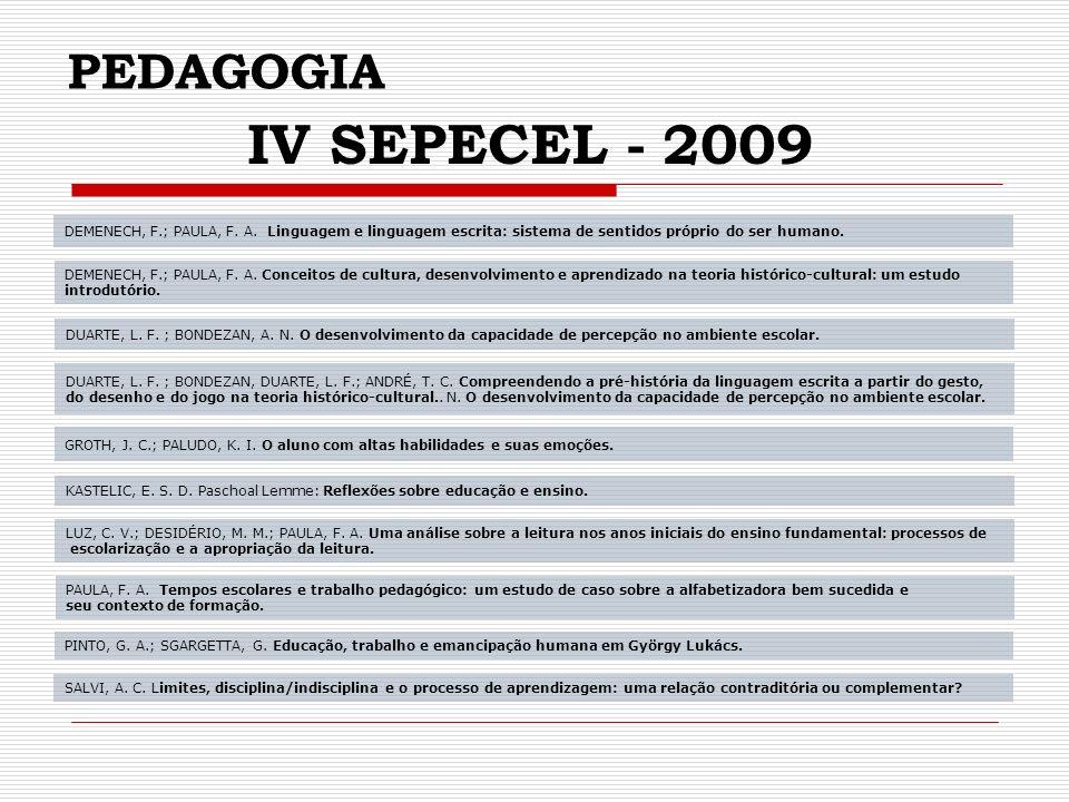 PEDAGOGIA IV SEPECEL - 2009 DEMENECH, F.; PAULA, F.