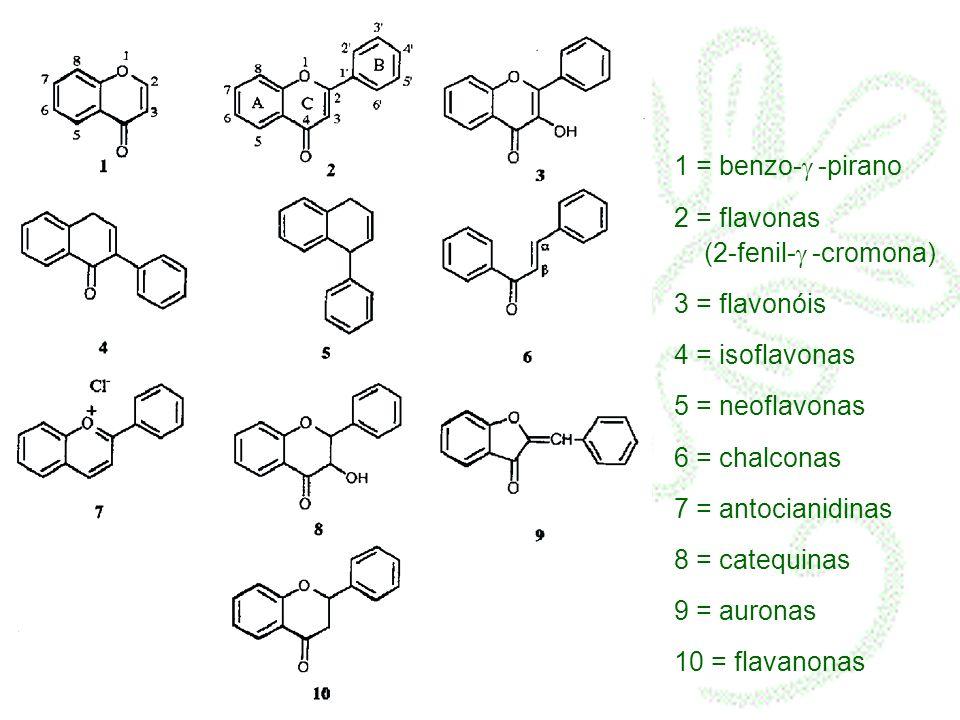 1 = benzo- -pirano 2 = flavonas (2-fenil- -cromona) 3 = flavonóis 4 = isoflavonas 5 = neoflavonas 6 = chalconas 7 = antocianidinas 8 = catequinas 9 = auronas 10 = flavanonas