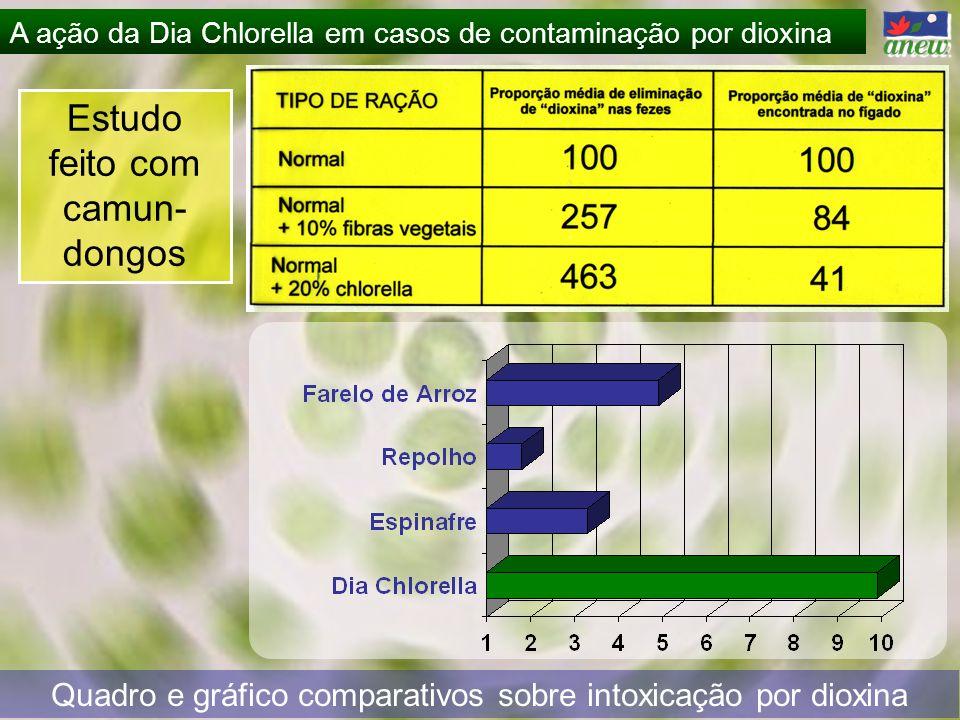 A ação da Dia Chlorella em casos de contaminação por dioxina Estudo feito com camun- dongos Quadro e gráfico comparativos sobre intoxicação por dioxin