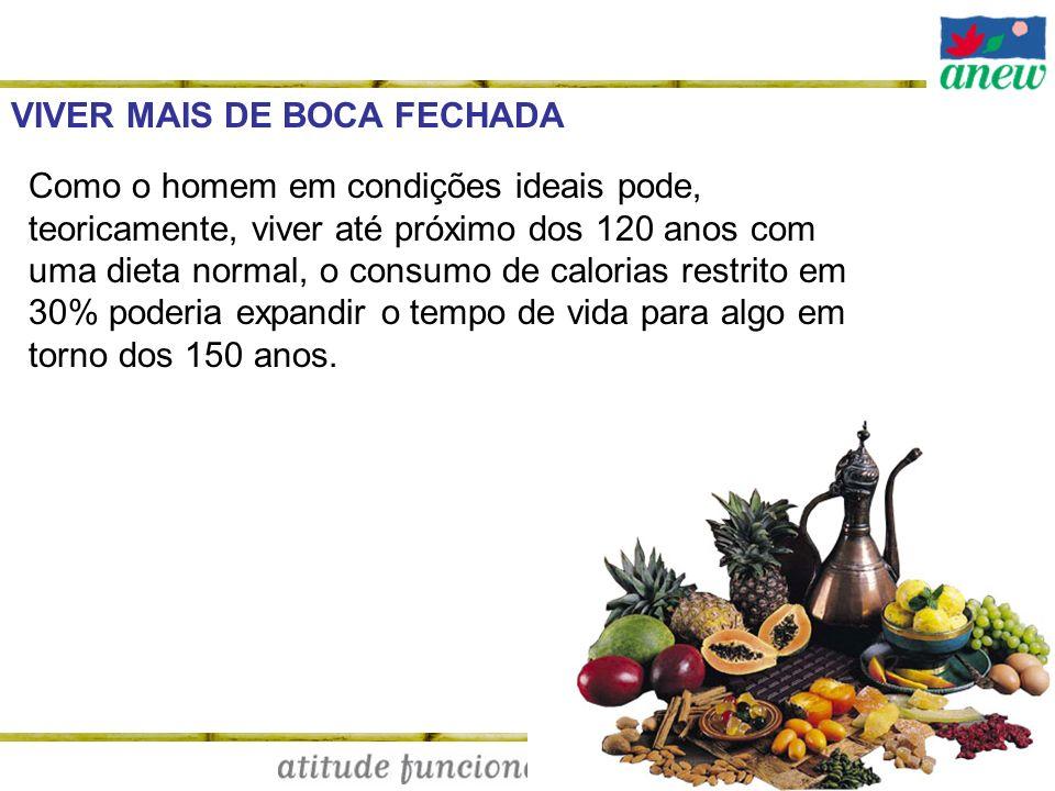 VIVER MAIS DE BOCA FECHADA Como o homem em condições ideais pode, teoricamente, viver até próximo dos 120 anos com uma dieta normal, o consumo de calo