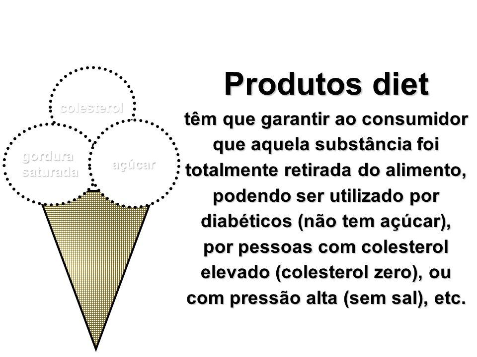 colesterol açúcar gordurasaturada Produtos diet têm que garantir ao consumidor que aquela substância foi totalmente retirada do alimento, podendo ser