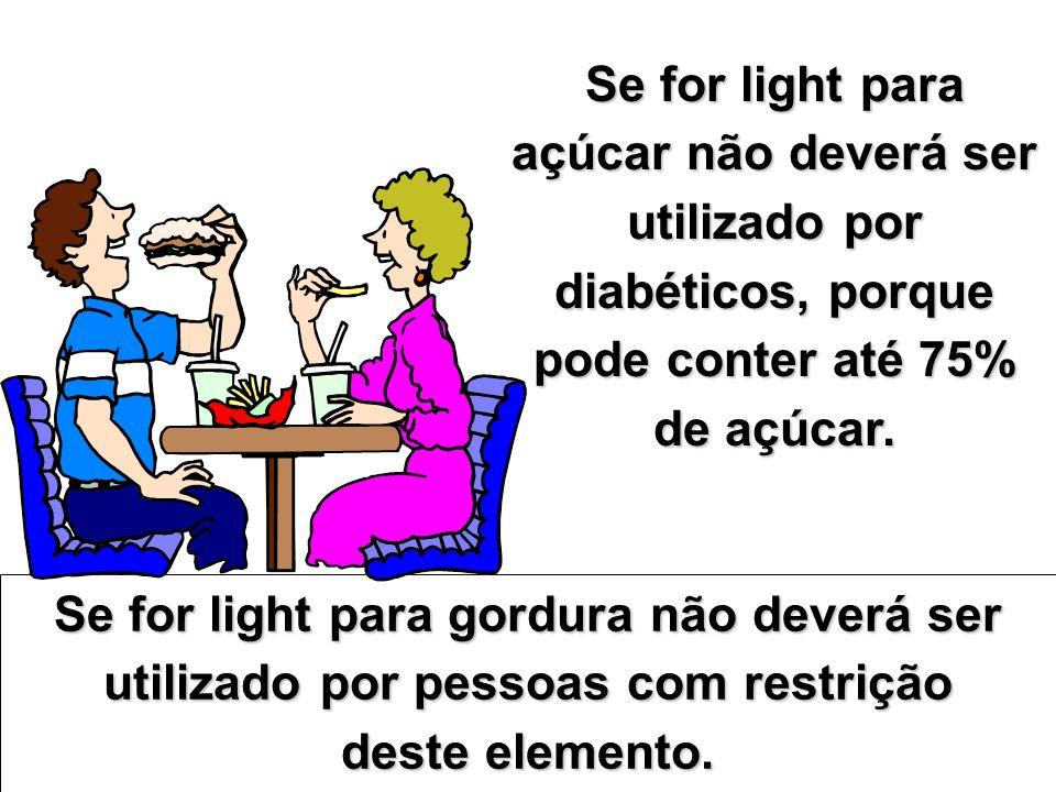 Se for light para açúcar não deverá ser utilizado por diabéticos, porque pode conter até 75% de açúcar. Se for light para gordura não deverá ser utili