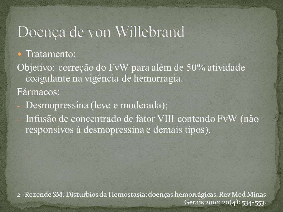 Tratamento: Objetivo: correção do FvW para além de 50% atividade coagulante na vigência de hemorragia. Fármacos: - Desmopressina (leve e moderada); -