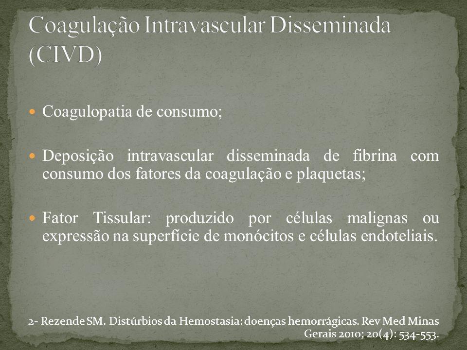 Coagulopatia de consumo; Deposição intravascular disseminada de fibrina com consumo dos fatores da coagulação e plaquetas; Fator Tissular: produzido p
