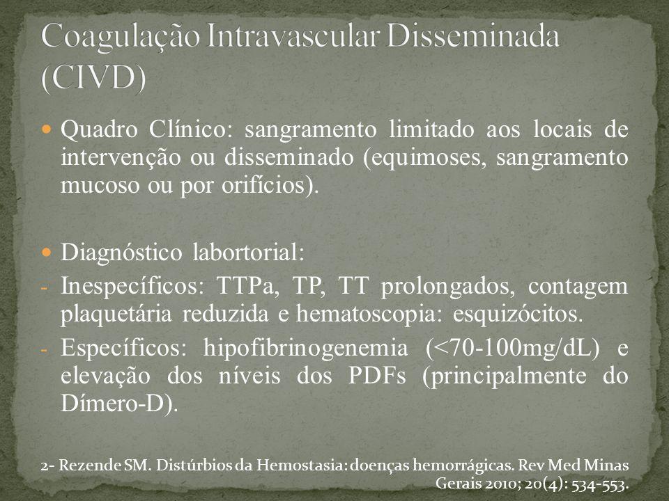 Quadro Clínico: sangramento limitado aos locais de intervenção ou disseminado (equimoses, sangramento mucoso ou por orifícios). Diagnóstico labortoria