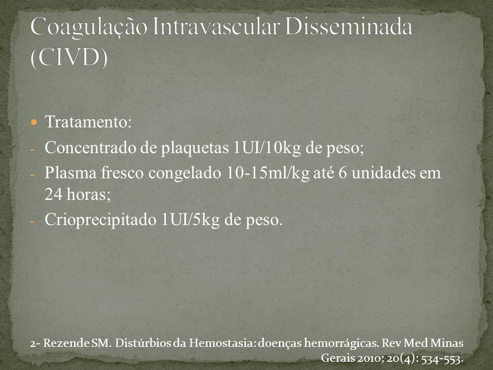 Tratamento: - Concentrado de plaquetas 1UI/10kg de peso; - Plasma fresco congelado 10-15ml/kg até 6 unidades em 24 horas; - Crioprecipitado 1UI/5kg de