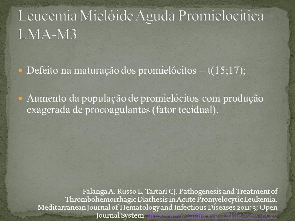 Defeito na maturação dos promielócitos – t(15;17); Aumento da população de promielócitos com produção exagerada de procoagulantes (fator tecidual). Fa