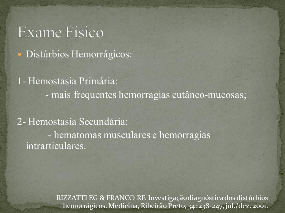 Distúrbios Hemorrágicos: 1- Hemostasia Primária: - mais frequentes hemorragias cutâneo-mucosas; 2- Hemostasia Secundária: - hematomas musculares e hem