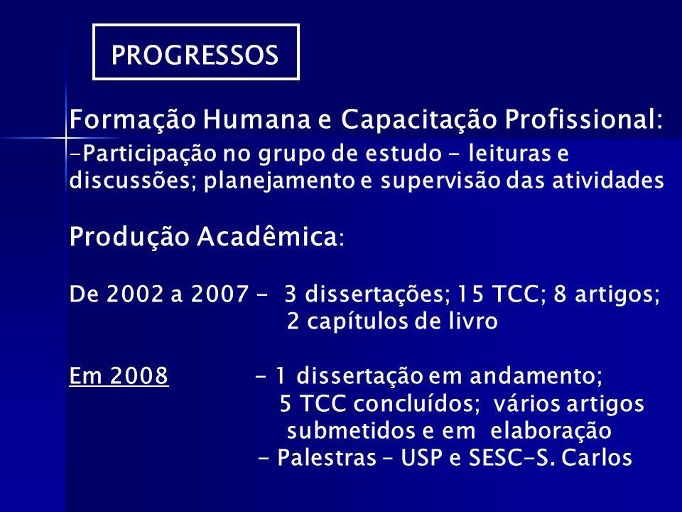 PROGRESSOS Formação Humana e Capacitação Profissional: -Participação no grupo de estudo - leituras e discussões; planejamento e supervisão das ativida