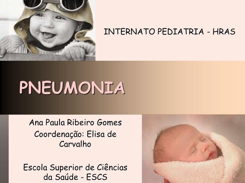 PNEUMONIA Ana Paula Ribeiro Gomes Coordenação: Elisa de Carvalho Escola Superior de Ciências da Saúde - ESCS INTERNATO PEDIATRIA - HRAS