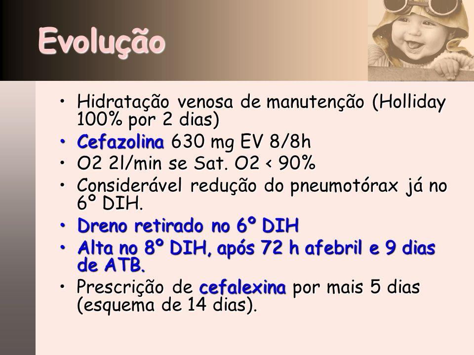 Evolução Hidratação venosa de manutenção (Holliday 100% por 2 dias)Hidratação venosa de manutenção (Holliday 100% por 2 dias) Cefazolina 630 mg EV 8/8