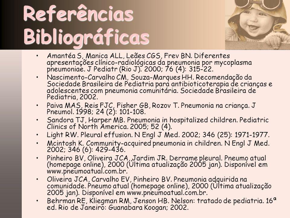 Referências Bibliográficas Amantéa S, Manica ALL, Leães CGS, Frev BN. Diferentes apresentações clínico-radiológicas da pneumonia por mycoplasma pneumo