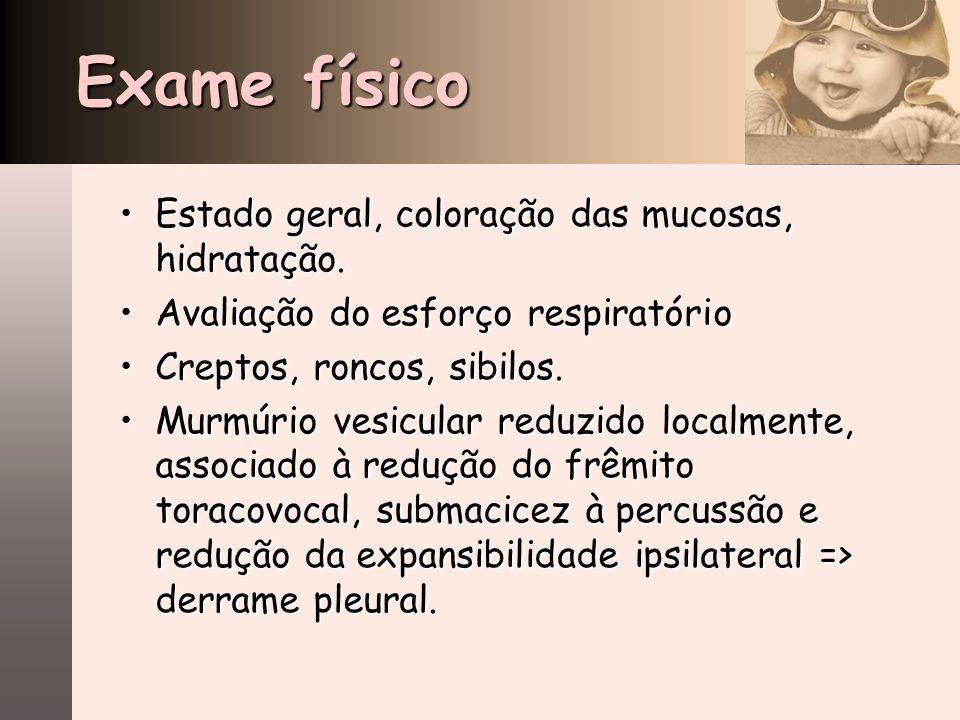 Exame físico Estado geral, coloração das mucosas, hidratação.Estado geral, coloração das mucosas, hidratação. Avaliação do esforço respiratórioAvaliaç