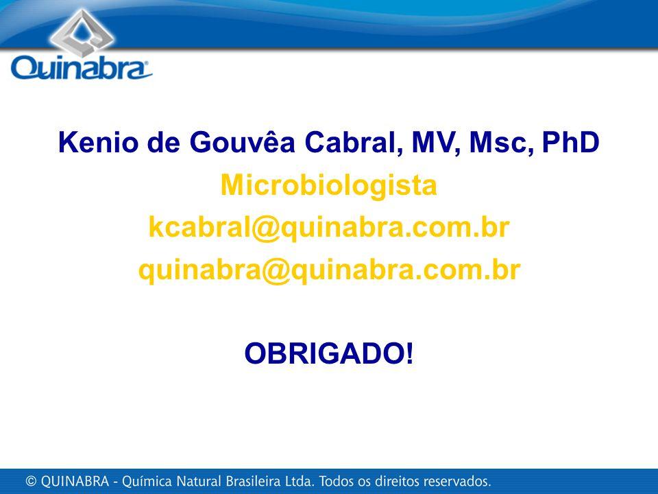 Kenio de Gouvêa Cabral, MV, Msc, PhD Microbiologista kcabral@quinabra.com.br quinabra@quinabra.com.br OBRIGADO!