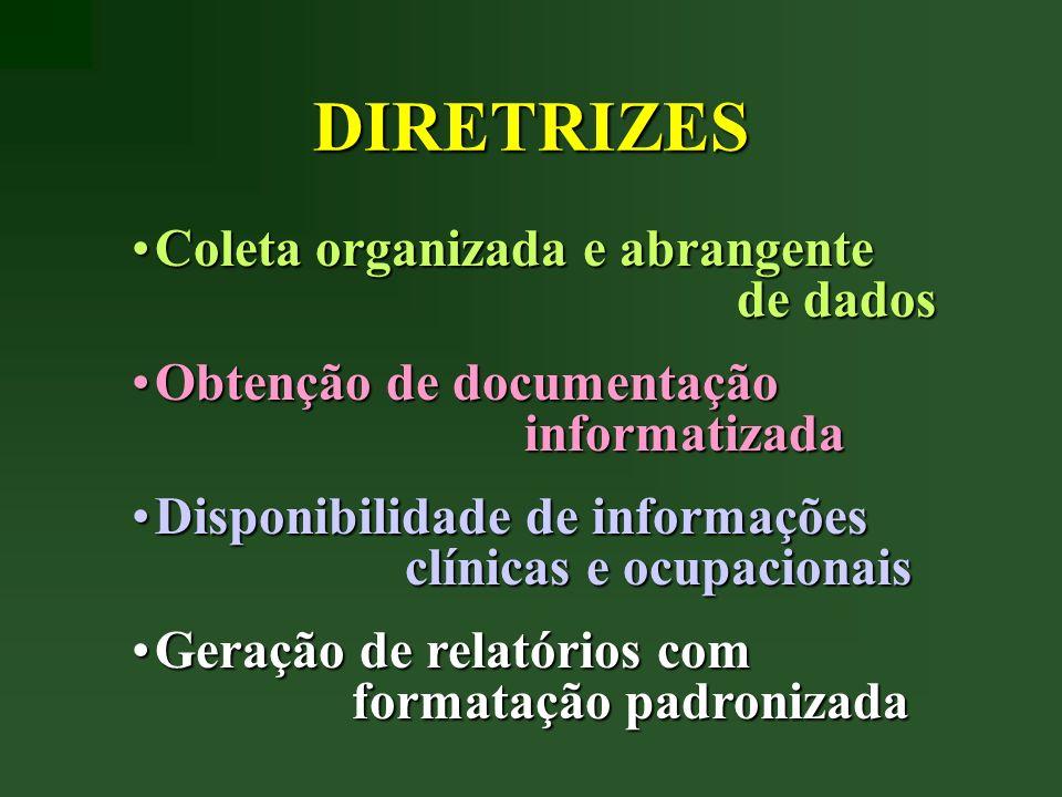 DIRETRIZES Coleta organizada e abrangente de dadosColeta organizada e abrangente de dados Obtenção de documentação informatizadaObtenção de documentaç