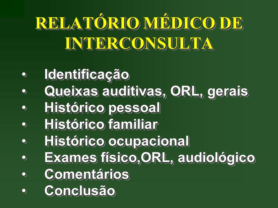 IdentificaçãoIdentificação Queixas auditivas, ORL, geraisQueixas auditivas, ORL, gerais Histórico pessoalHistórico pessoal Histórico familiarHistórico