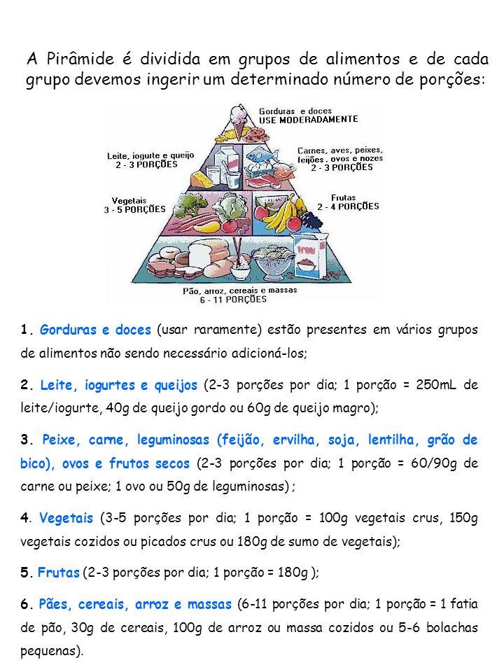 1. Gorduras e doces (usar raramente) estão presentes em vários grupos de alimentos não sendo necessário adicioná-los; 2. Leite, iogurtes e queijos (2-