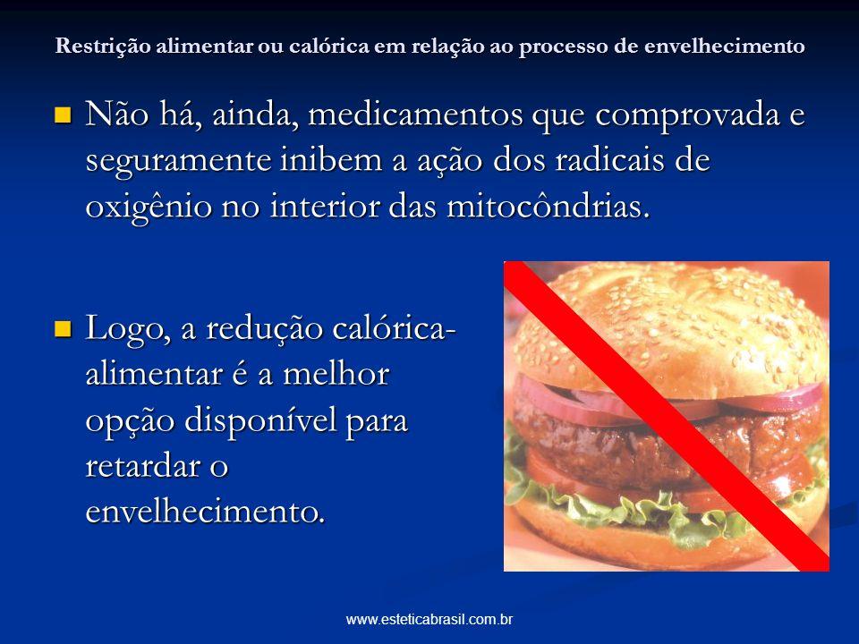 www.esteticabrasil.com.br Restrição alimentar ou calórica em relação ao processo de envelhecimento Não há, ainda, medicamentos que comprovada e segura