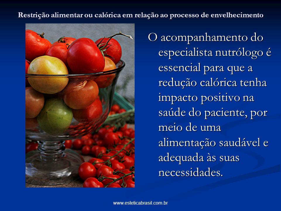 www.esteticabrasil.com.br Restrição alimentar ou calórica em relação ao processo de envelhecimento O acompanhamento do especialista nutrólogo é essenc