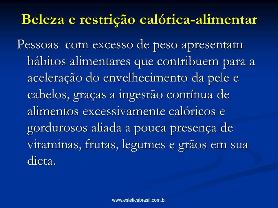 www.esteticabrasil.com.br Beleza e restrição calórica-alimentar Pessoas com excesso de peso apresentam hábitos alimentares que contribuem para a acele