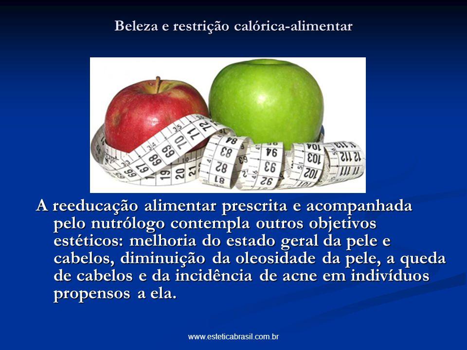 www.esteticabrasil.com.br Beleza e restrição calórica-alimentar A reeducação alimentar prescrita e acompanhada pelo nutrólogo contempla outros objetiv