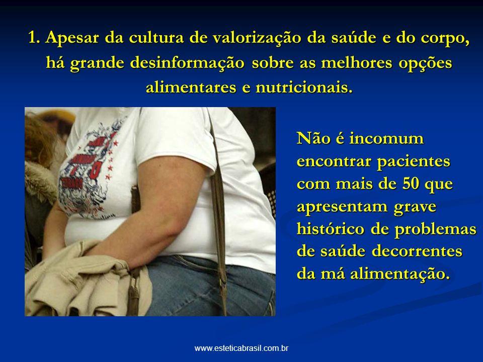 www.esteticabrasil.com.br 1. Apesar da cultura de valorização da saúde e do corpo, há grande desinformação sobre as melhores opções alimentares e nutr