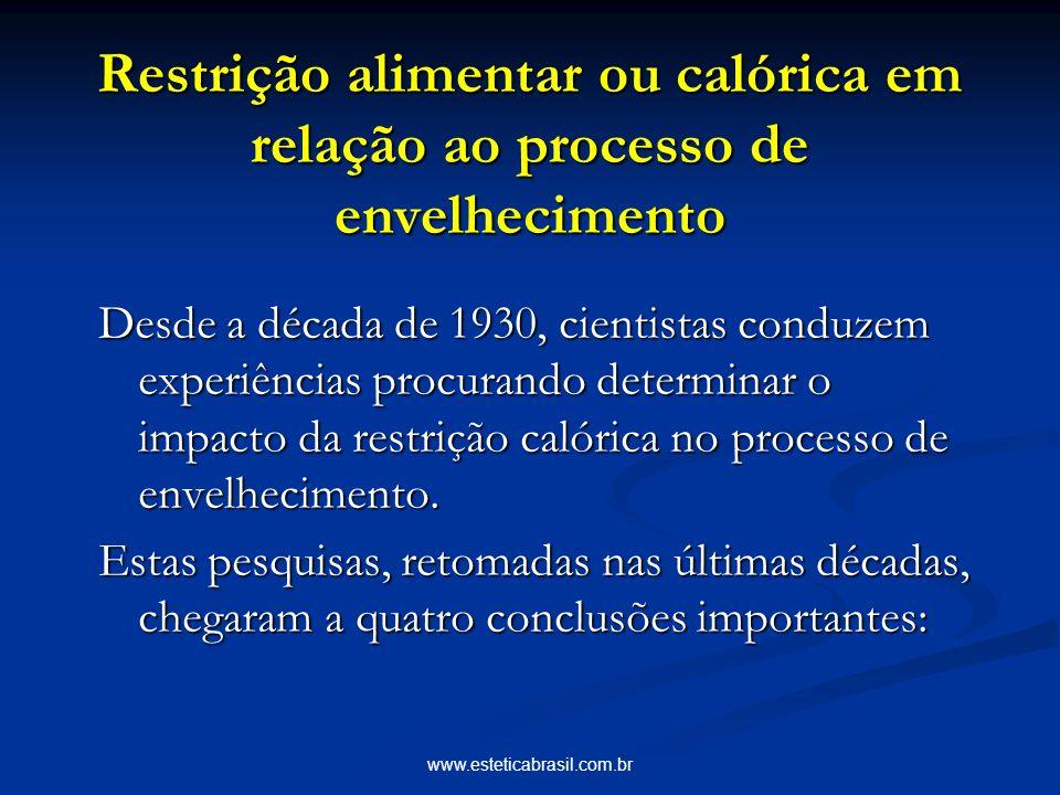 www.esteticabrasil.com.br Restrição alimentar ou calórica em relação ao processo de envelhecimento Desde a década de 1930, cientistas conduzem experiê