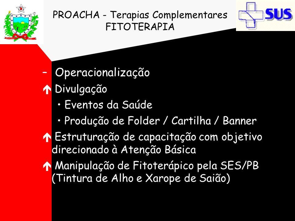 PROACHA - Terapias Complementares FITOTERAPIA – Operacionalização é Divulgação Eventos da Saúde Produção de Folder / Cartilha / Banner é Estruturação